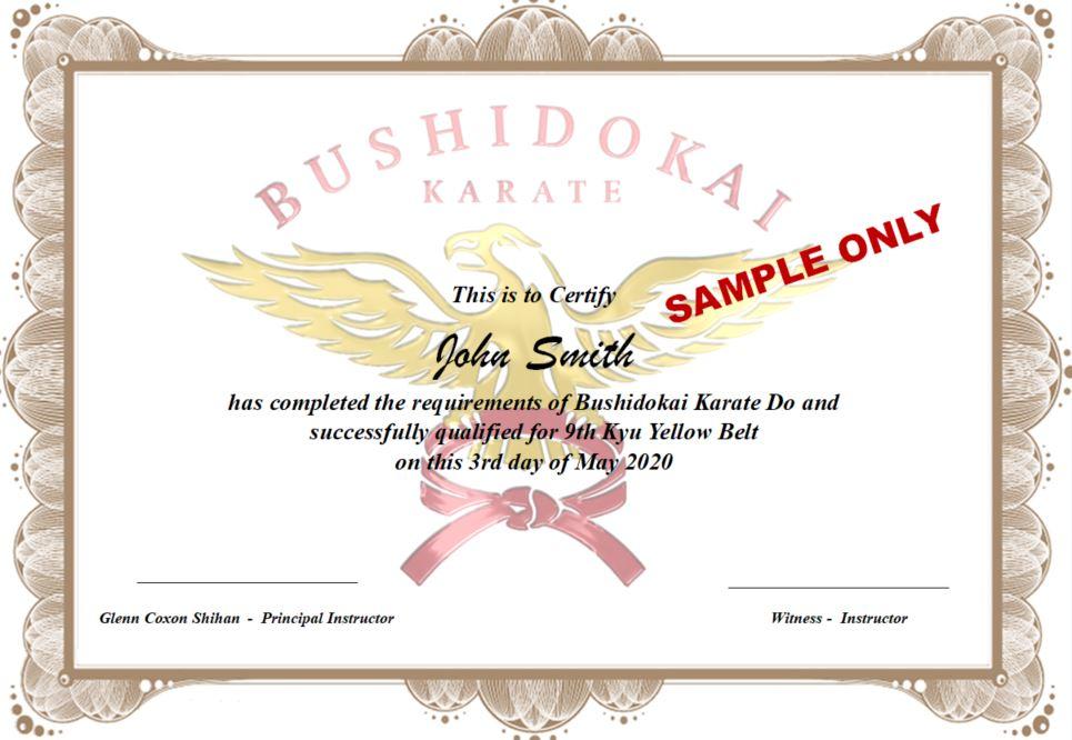 BUSHIDOKAI CERTIFICATE SAMPLE
